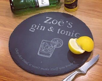 Gin and tonic slate chopping board