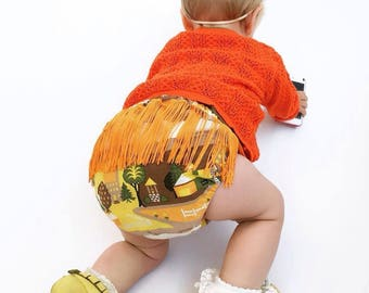 Bloomers/Nappy/Diaper Covers, Age 12-24 Months, Retro 70's Fabric and Tassels