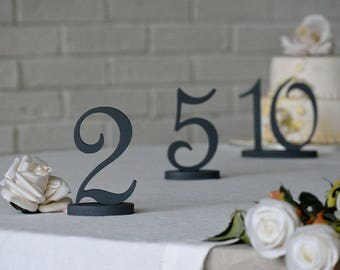 Charcoal grey wedding wood numbers for a table. Wedding table numners in Mint with glitter, Gold, Silver, or any color, unpainted, glitter