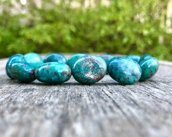 Hubei Turquoise Bracelet Natural 18x14mm Chinese Turquoise Beaded Ovals Rich Blue Green And Brown Hubei Turquoise Ovals