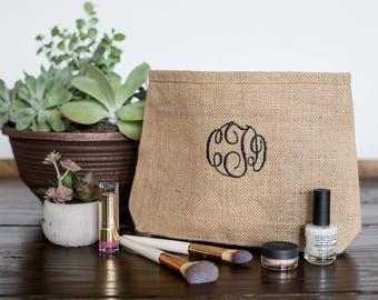 Bridesmaid Gifts Personalized Wedding Gift, Custom Makeup Bags, Monogram Make Up Bags, Burlap Cosmetic Bags, Personalized Makeup Bags