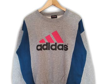 Hot Sale!!! Rare Vintage 90s ADIDAS Big Logo Crewneck Sweatshirt Hip Hop Skate Swag Large Size