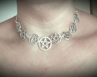 Collar pentacles pagan wiccan witch-jewlery-wiccan-jewlery