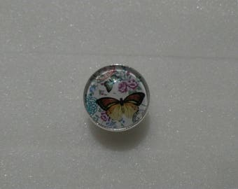 Butterfly - silver metal adjustable cabochon ring collection