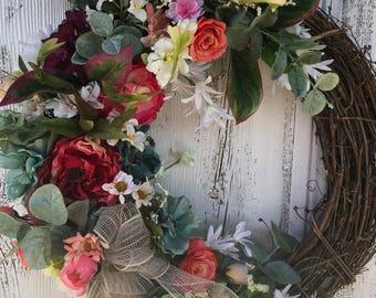 Elegant Floral Wreath, Country French Wreath, Spring Wreath, Summer Wreath, Designer  Wreath, Autumn Garden Wreath, Wedding, Mothers Day