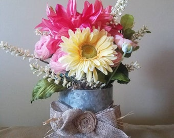 Spring Floral Arrangement Rustic Bridal Burlap Pink Yellow Centerpiece