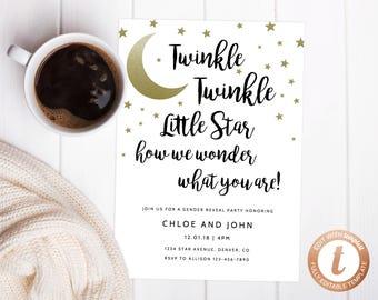 INSTANT DOWNLOAD Gender Reveal Party Invitation, Printable Gender Reveal, Twinkle Twinkle Little Star Gender Reveal Party, Templett