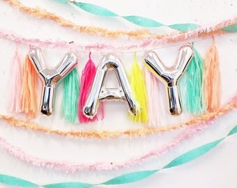 "YAY Balloon Set | 16"" Metallic Mylar Letters SILVER or GOLD Yay Balloon Set"