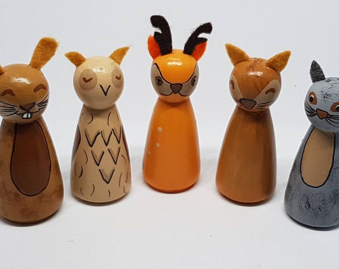 Featured listing image: Woodland creatures peg dolls