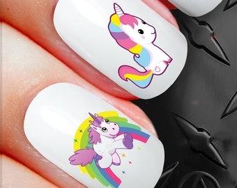 Unicorn nail art etsy 20 nail art decals stickers galaxy unicorn fantasy universe moon n150 prinsesfo Images
