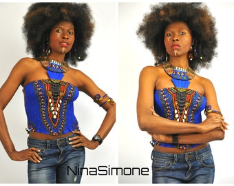 One Size Dashiki Halter Neck Top, Dashiki Blouse, Dashiki Beaded Halter Neck Top