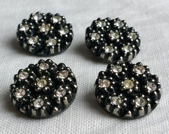 Black and Silver with Diamantes Vintage Glass Buttons set of 4 Shank 1.7 cm