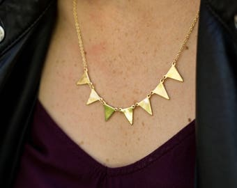 Triangle Necklace, 7 Triangle Necklace, Triangle Jewlery, Boho Jewelry, Boho Triangle Jewelry