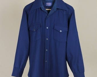 Best Summer Sale Pendleton Solid Navy Wool CPO Shirt