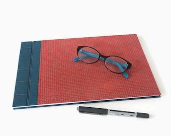A4 Hardback Stab Bound Sketchbook or Journal - Blue/Green Bookcloth, Red Lokta Paper and Grey Linen Thread