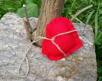Fabric hanging heart set of 2 bright red
