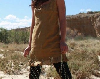 Dress in natural dye, summer dress, romantic dress in dyeing organic and handcrafted in clay, ethnic dress