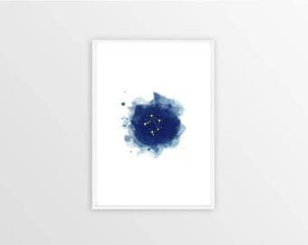 A3, Libra, Zodiac sign, Stars, Constellation, Wall art, Decoration, Home decor, Print, Mural Art, watercolor