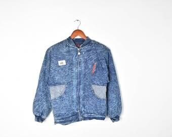 Vintage Blue Denim Fleece Lined Acid Wash Bomber Jacket