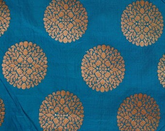 Half Yard of Cerulean blue and Golden Circular Flower Brocade Silk Fabric by the yard