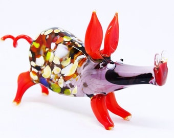 Red glass peppa figurine animals glass pig miniature art glass pigs toy murano piggy animals tiny small figure glass collectible pigs