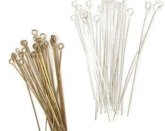 50 eye pins, mixed eye pins, gold plated eye pins, silver plated eye pins, 22 gauge. Jewelry findings. Brass eye pins.