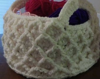 Crochet diamond stitch basket hand made crochet basket