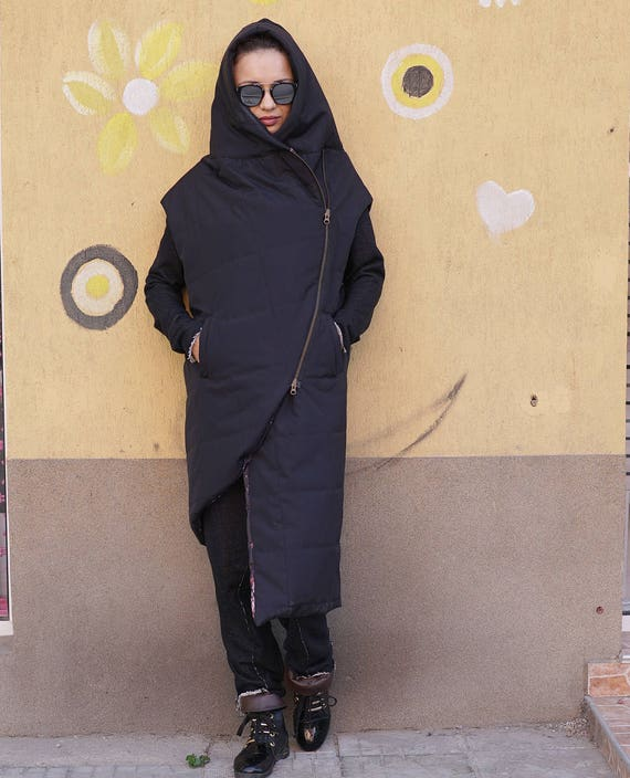 Winter Warm Maxi Sleeveless Parka, Asymmetric Hooded Oversized Coat, Quilted Lagenlook Hoodie, Waterproof Windproof Extravagant Vest