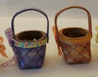 "Tiny 3"" Wooden Easter baskets ""LITTLE JEANIE"""