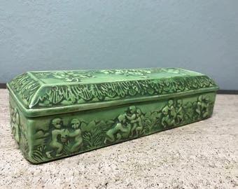 Unique Tropical Vintage Green Ceramic Ornate Trinket Container Dish