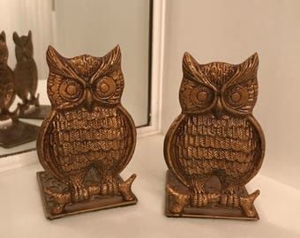 Vintage Metal Owl Bookends