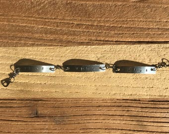 Veni, Vidi, Amavi - (We Came, We Saw, We Loved) Stamped Metal Bracelet
