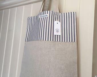 Handmade tote bag, natural linen, cotton, navy ticking stripe
