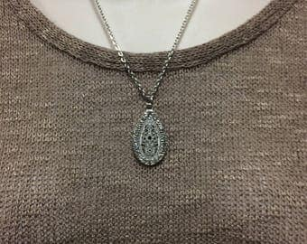 Silver Metal Teardrop Necklace, crystal necklace, teardrop pendant
