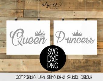 Queen Princess SVG File, DXF, PNG, Studio3, Silhouette, Cricut