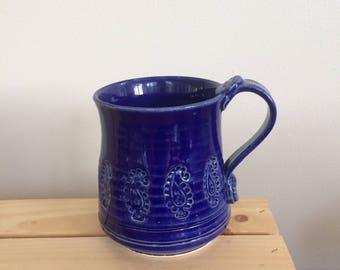Ceramic Mug, Paisley, Handmade, Blue and White