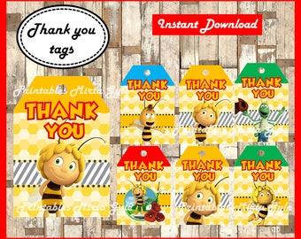 Maya The Bee Thank you Tags, printable Maya The Bee party Thank you Tags, Maya The Bee Tags