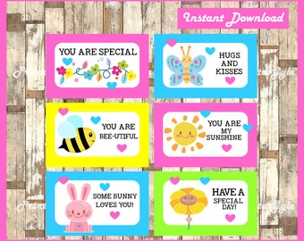 Printable Kisses Lunchbox Notes instant download, Kisses Lunch Box Notes, Printable LOVE Notes for Children's Lunch