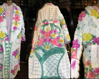 A Tisket, A Tasket...A Big RAINBOW Basket Robe! ~ Handmade Vintage Bathrobe ~ from Sweet Chenille Love Hearts Bedspread - May fit up to 1x