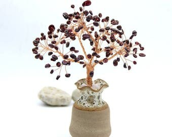 Natural Red Garnet Wire Tree Gemstone Sculpture  Life of Tree Lucky Tree Feng Shui Decor Tree Gemstone Beaded Bonsai January Birthstone Gift