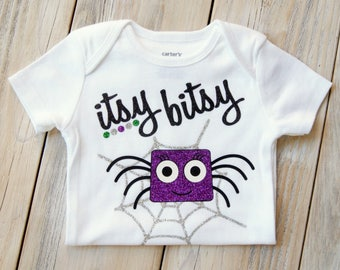 Itsy Bitsy Spider-Halloween-Baby Girl Onesie-Fall-Baby Gift-Custom Onesie-Baby Girl Clothing-Spider-Itsy Bitsy - Costume - Baby Costume