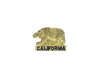 California Bear Pin Metal Enamel Vintage
