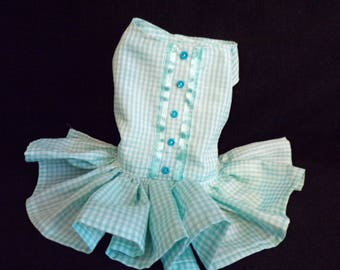 turquoise gingham checked dress size XS