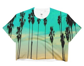 Palm Trees with Aqua and Amber Sunset Ladies Crop Top