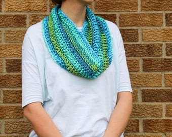Crocheted Women's/Teen's Infinity Scarf- Caribbean- Fashion Scarf