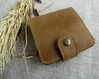 Minimalist leather wallet Card holder mens wallet holder coins slim wallet women slim wallet handmade distressed leather small wallet