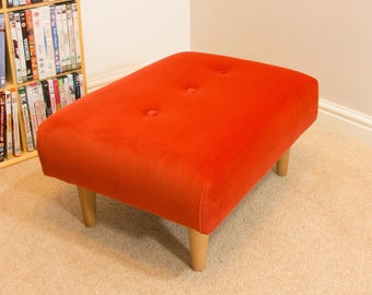 Footstool with orange velvet - buttoned - beech legs