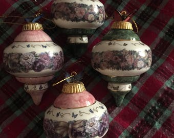 Vintage porcelain Christmas ornaments