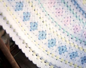 Vintage Baby Crochet Blanket/Shabby Handmade Blanket/Pastel Baby Afghan Quilt/Pastel Nursery/Newborn Photo Prop/Vintage Nursery/Baby Shower