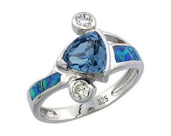 Sterling Silver Blue Opal Multistone Ring Blue Topaz CZ Accent